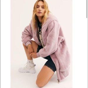 Free People Turn Up Zip Off Fuzzy Jacket L